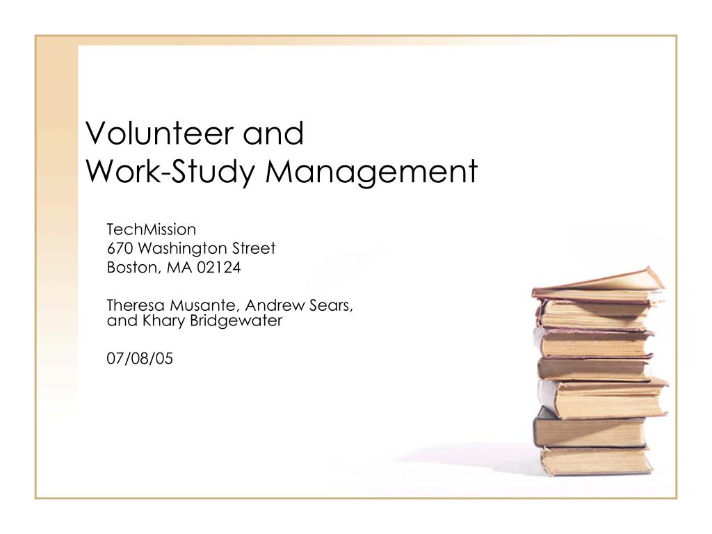 volunteer and work study management l.