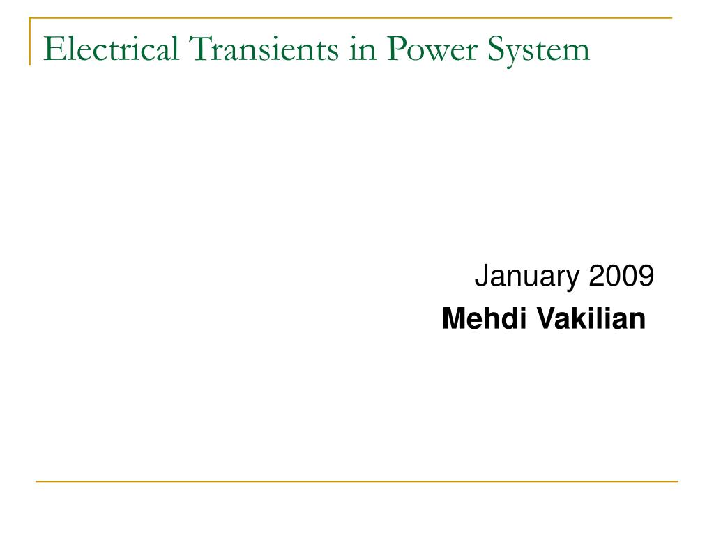 electrical transients in power system l.