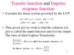 transfer function and impulse response function