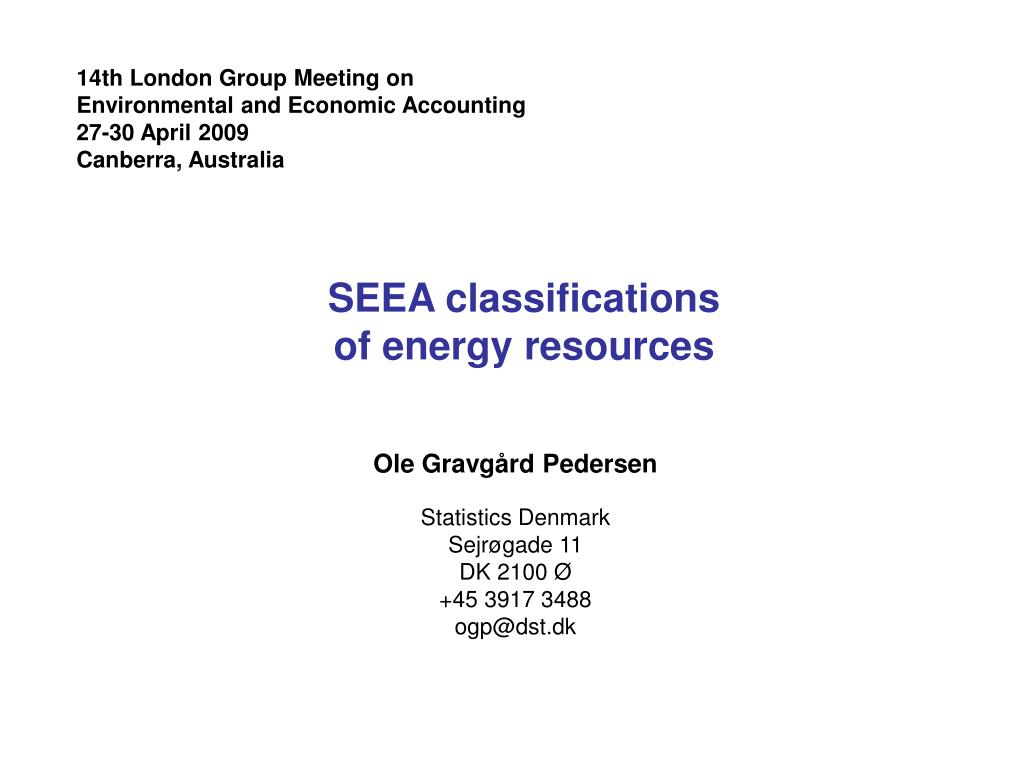 seea classifications of energy resources l.