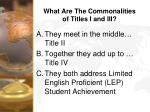 what are the commonalities of titles i and iii