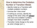 how to determine the oxidation number of transition metals