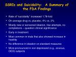 ssris and suicidality a summary of the fda findings