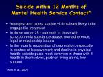 suicide within 12 months of mental health service contact