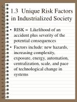 1 3 unique risk factors in industrialized society