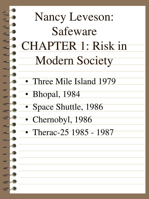 nancy leveson safeware chapter 1 risk in modern society l.