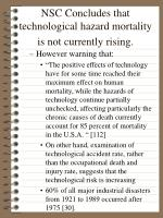 nsc concludes that technological hazard mortality is not currently rising