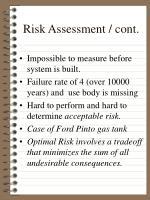 risk assessment cont