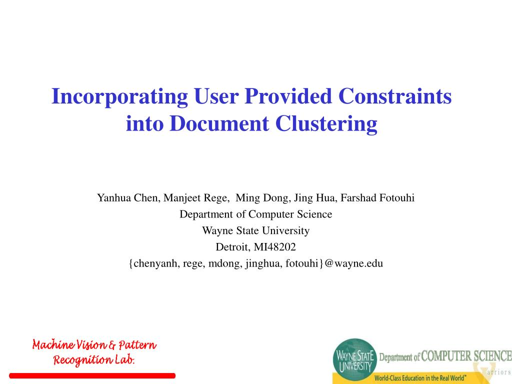 incorporating user provided constraints into document clustering l.