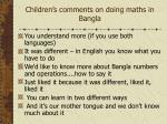 children s comments on doing maths in bangla