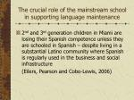 the crucial role of the mainstream school in supporting language maintenance