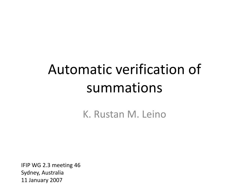 automatic verification of summations l.