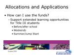 allocations and applications16