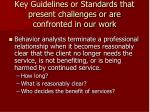 key guidelines or standards that present challenges or are confronted in our work19