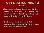 programs that teach functional skills