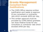 grants management consultant rate justifications