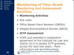 monitoring of your grant monitoring and assessment activities