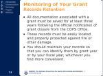 monitoring of your grant records retention