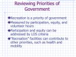 reviewing priorities of government