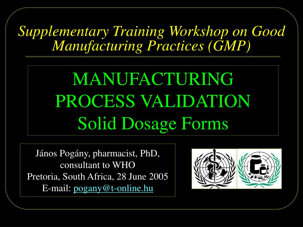 supplementary t raining workshop on good manufacturing practices gmp l.