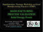 supplementary t raining workshop on good manufacturing practices gmp