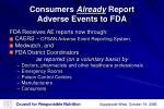 consumers already report adverse events to fda