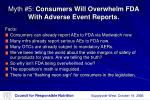 myth 5 consumers will overwhelm fda with adverse event reports