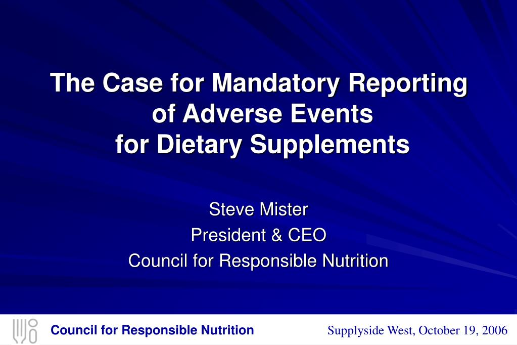 the case for mandatory reporting of adverse events for dietary supplements l.