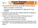 assets disposal workstream
