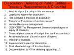 dissolution delisting of public entities treasury requirements checklist