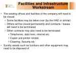 facilities and infrastructure workstream