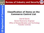 classification of items on the commerce control list
