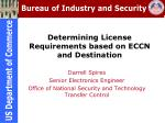 determining license requirements based on eccn and destination