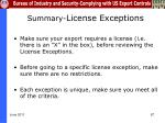 summary license exceptions