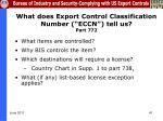 what does export control classification number eccn tell us part 772