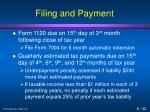 filing and payment