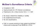 mcgeer s surveillance criteria