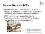 state of hais in ltcfs
