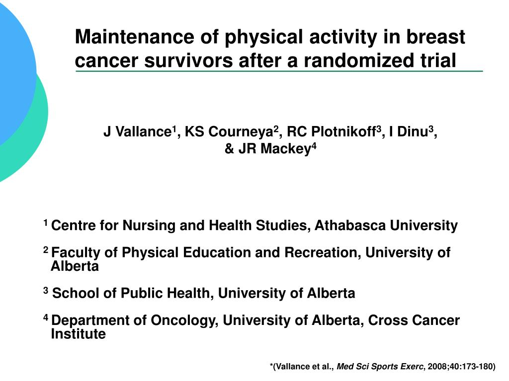 maintenance of physical activity in breast cancer survivors after a randomized trial l.