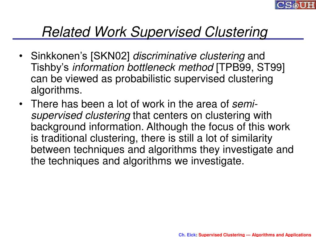 Related Work Supervised Clustering