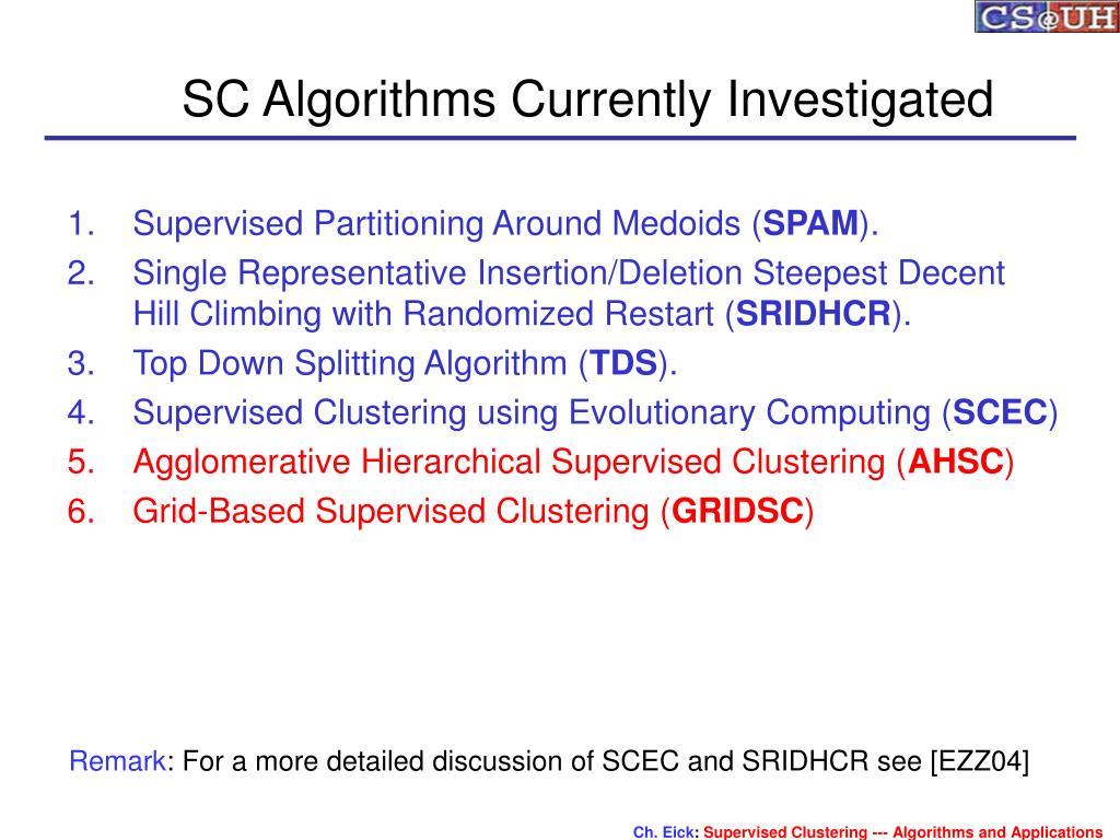 SC Algorithms Currently Investigated