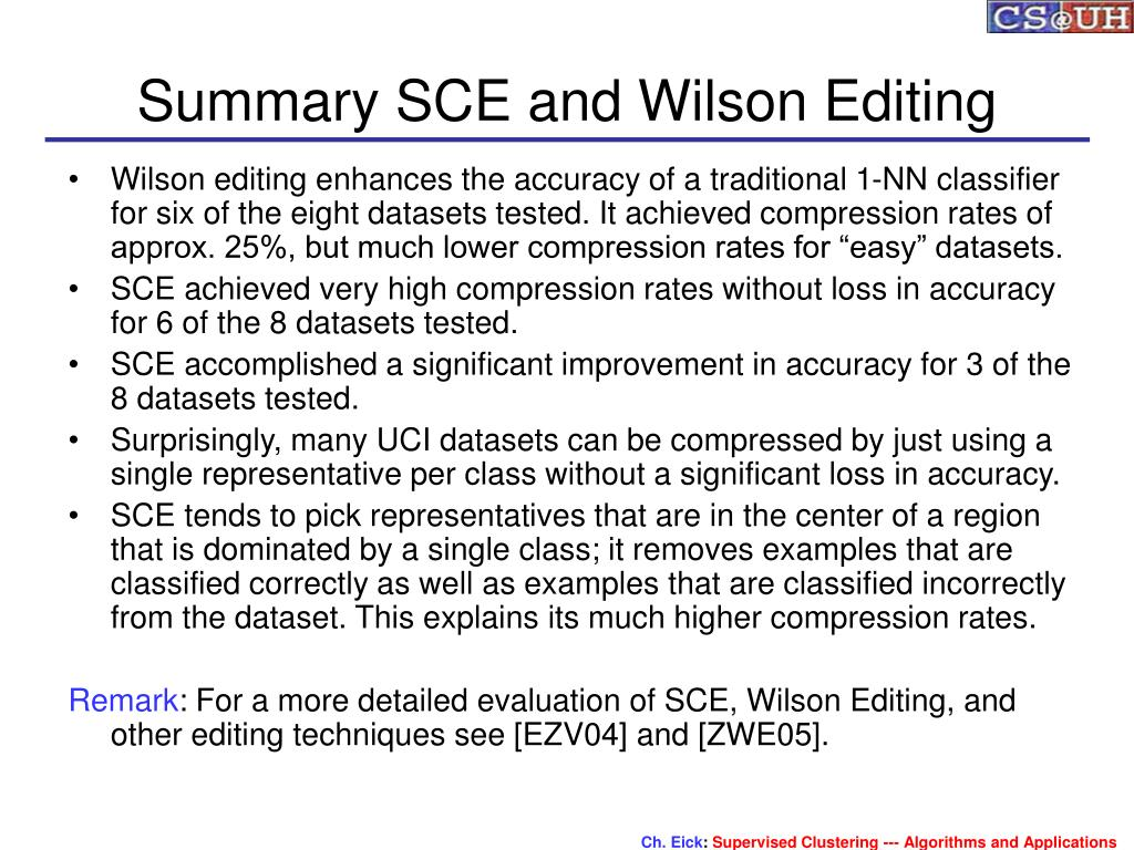Summary SCE and Wilson Editing