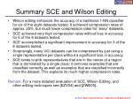 summary sce and wilson editing