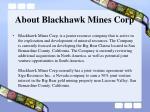 about blackhawk mines corp