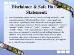 disclaimer safe harbor statement
