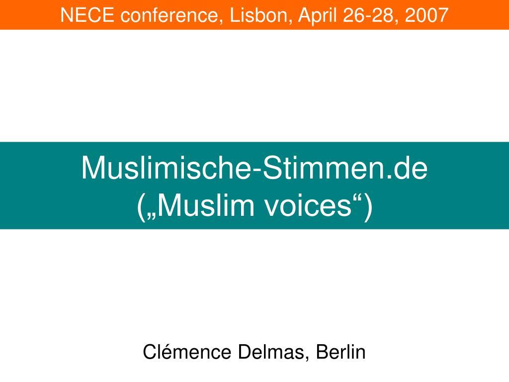 muslimische stimmen de muslim voices l.