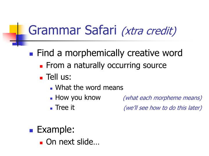 Grammar safari xtra credit