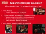 experimental user evaluation