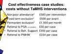 cost effectiveness case studies costs without tamhs interventions