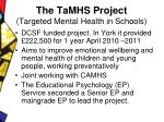the tamhs project targeted mental health in schools